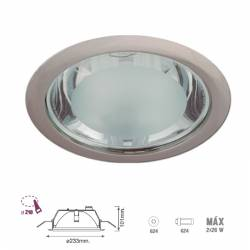 Downlight empotrable redondo. Niquel satinado 2x26w G24