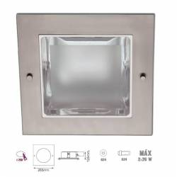 Downlight empotrable cuadrado. Niquel satinado 2x26w G24
