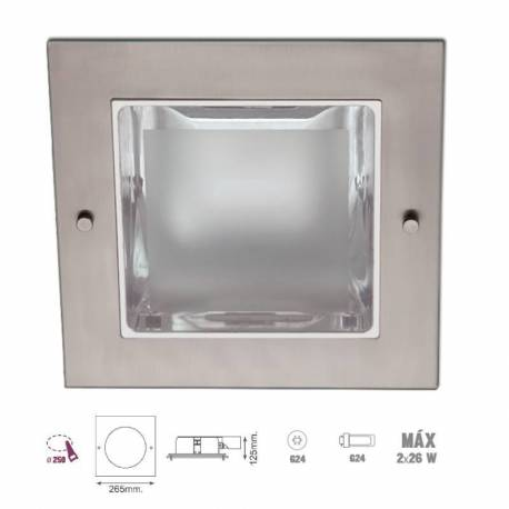 Downlight empotrable cuadrado. Niquel satinado