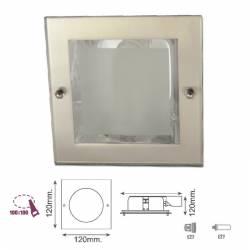 Downlight cuadrado niquel satinado para lámpara E27 9w