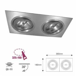 Foco basculante rectangular aluminio LED QR111